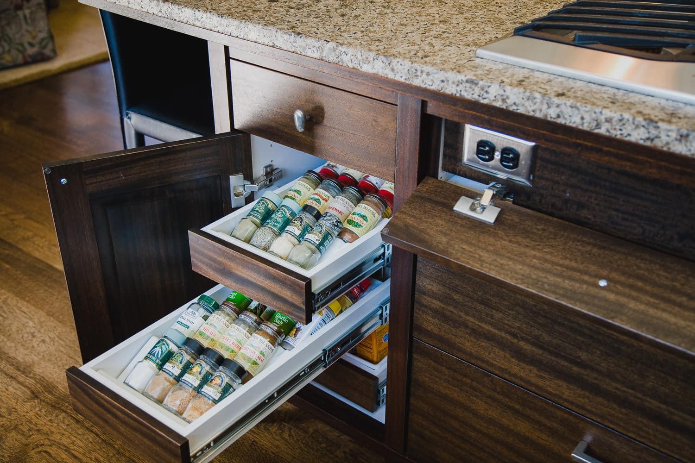 kitchen, pullout organizer, hidden outlet