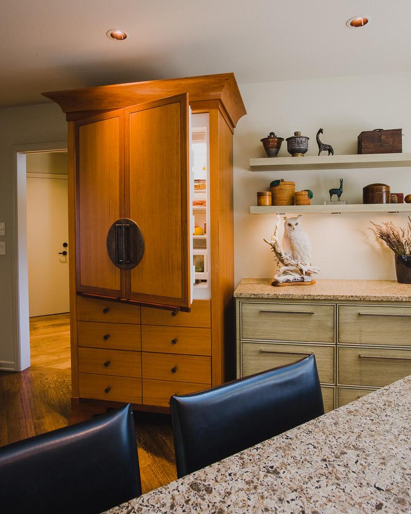 kitchen, custom refrigerator, granite counter, shelving