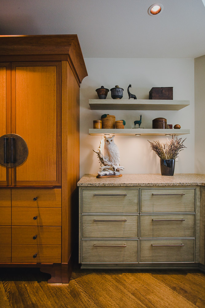 kitchen, custom refrigerator, faux finish cabinet, shelving, hardwood floor, halogen lighting